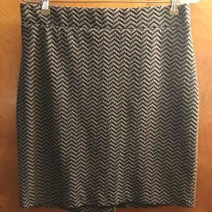 Nicole Miller Pencil Skirt, Black/Grey Chevron.